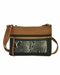 Cross-Body Leather Locking Compact Concealed CCW Purse Light Brown Snake Design