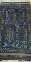 Antique Tribal Balouchh Blue Hand Knotted Wool Oriental Rug Cleaned 2.8 X 4.10