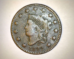 1822 Us Coronet Large Cent - Great Strike/detail , Collector Coin - Nice Vf