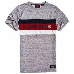 Superdry Mens Trophy Tee Chrome Grey Grit T Shirt Navy Red Short Sleeve