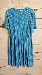 Leslie Fay Blue 1980 Polka Dot Button Pleated Dress (Size: Chest: 60 Length 45)