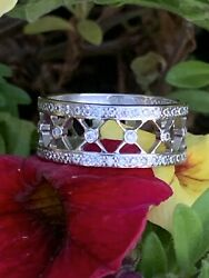 And Co Platinum Voile Lace Pave Diamond 8mm Ring Band .55 Tcw Evaluation