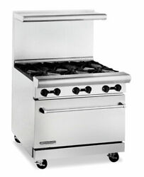 American Range AR-6 36in Commercial 6 Burner Gas Restaurant Range w/ Std Oven