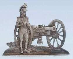 Vintage 2 Sided Metal Miniature Toy Soldier Napoleon With Cannon Waterloo France