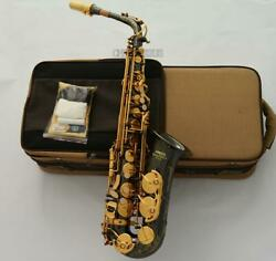 Black Nickel-plated Alto Saxophone Professional Eb Sax Nice Engraving With Case