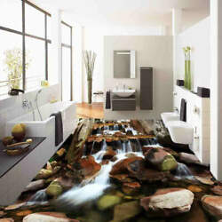 Dry And Wet Stone 3d Floor Mural Photo Flooring Wallpaper Home Print Decoration