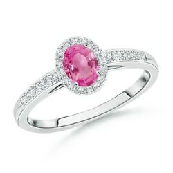 Classic Oval Pink Sapphire Halo Ring With Diamond Accents In Gold/platinum