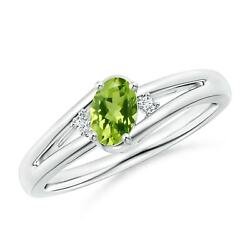 Natural Peridot And Diamond Ring In 14k Gold/platinum Size 3-13