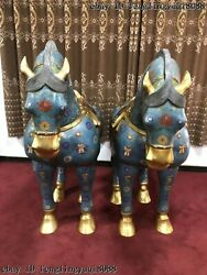 Chinese Bronze Cloisonne Enamel Feng Shui Animal Tang Horse Steed Statue Pair