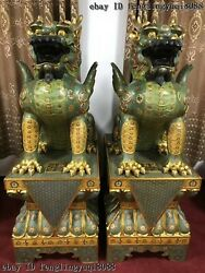 China Bronze Cloisonne Enamel Kylin Kylin Dragon Beast Foo Dog Statue Pair