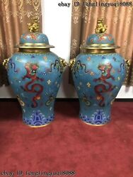 Chinese Copper Bronze Cloisonne Enamel Dragon Pot Vase Fu Foo Dog Lion Jar Pair