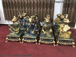 Bronze Cloisonne12 Chinese Zodiac Animal Dragon Sheep Ox Pig Rat Cock Statue Set
