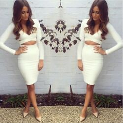 Sexy WHITE HALTER Skirt MIDI Dress Evening Party Club Long Sleeve Dress Sundress $12.99