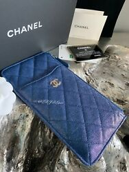 Nwt 19s Iridescent Blue Caviar Phone Holder Wallet O-case Pouch 2019 New