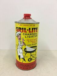 Vintage Gril-lite Charcoal Lighter Fluid Empty Can 48 Oz. Grill Barbeque