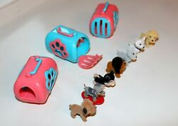 Puppy In My Pocket Series 9 Lot Of 3 Carriers and 7 Puppies Girls Toy Dogs