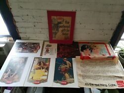 Vintage Lot Of 7 Coca Cola Display Items/signs/advertising Norman Rockwell Coke