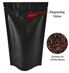 Black Matt With Valve Bag Stand Up Pouches Coffee Bag Seeds Nuts Heat Seal Bag
