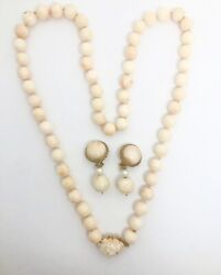 Vintage Retro Angel Skin Coral Flower Beads Necklace Pearl Clip-on Drop Earrings