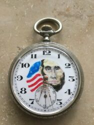 Antique President Abraham Lincoln Open Face Pocket Watch Pocket Watch USA Unique