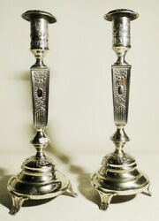 Antique Polish Pair Of Candlesticks Manufactured With Silverplated Metal