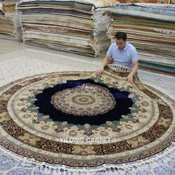 Yilong 9.1'x9.1' Round Handknotted Silk Carpet Pet Friendly Indoor Rug TJ083A