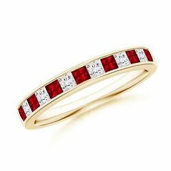 0.52cttw Channel Square Ruby And Diamond Half Eternity Band In 14k Gold/platinum