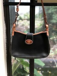 Authentic Classic Vintage Dooney And Bourke Handbag Black Leather Brown Great