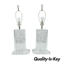 Pair Of Van Teal Clear Etched Lucite Sculptural Mid Century Modern Table Lamps