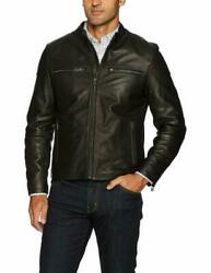 Cole Haan Menand039s Leather Moto Jacket