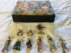 Antique Porcelain Figurines Lot Of Nine With Box Made In China From The 1930s
