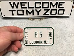 Loudon Nh Bicycle License Plate Tag 1965 Rare Topper New Hampshire 65 Nos