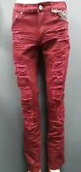 Menand039s Argonaut Nation Distressed Jeans With Rips - Burgundy
