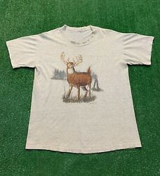 Vintage 90s White Tail Deer Buck Graphic Distressed Shirt XL VTG Gray Thin