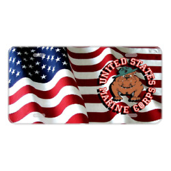 Custom Personalized License Plate Auto Car Tag With Usa Marine Corps Flag