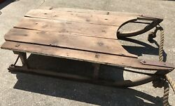 """Circa 1910 Snow Sled Hand Made And Forged Iron Andwood Michigan Farm 36x20x8"""" W/rope"""
