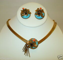 Vintage ButterflyBee Rhinestone Slide Necklace & Earrings Set c.1940's1950's