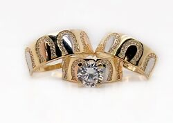 14k Yellow Gold Trio Set Wedding,engagement Ring Mens And Womens Horse Shoe Lucky