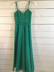 Celyce Designs Long Prom Dress Teal Turquoise Sleeveless Bridesmaid Size 8