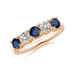 Half Eternity Five Stone Sapphire And Diamond Wedding Band In Silver/gold/platinum