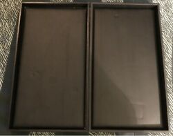Two 2 Black Leatherish Psudo Jewelry Display Tray Holder Stackable Cases F