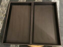Two 2 Black Leatherish Psudo Jewelry Display Tray Holder Stackable Cases Gdo