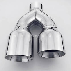 4 Out 2.5 Inlet Angle Cut Dual Wall Stainless Steel Exhaust Tip Passenger Side