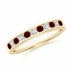 0.53cttw Channel Set Ruby And Diamond Semi Eternity Band In 14k Gold/platinum