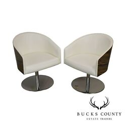 White Leather And Zebra Wood Barrel Back Pair Chrome Ped. Lounge Chairs By Capee