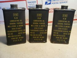 3 Vintage Military 0-192 Pl-m Weapons Oil Can Lubricant Three 4.oz Cans 11/1969
