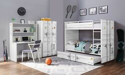 Acme Furniture Cargo Bunk Bed Metal White Youth Twin Trundle Bunk Bed