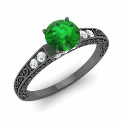 Certified Natural Emerald And Diamond Filigree Engagement Ring In 14k Black Gold