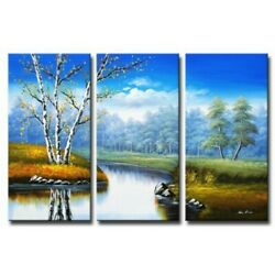 Meadow Brook Trees Nature Landscape 3 Piece Panels Canvas Oil Painting Wall Art