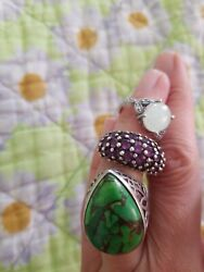 Lot Of 3 Vtg Green Turquoise Amethyst And Synthetic Opal Sterling Silver 925 Rings